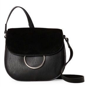 French Connection Black Delaney Leather Saddle Bag
